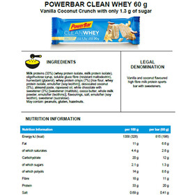PowerBar Clean Whey Bar Box 18x60g, Vanilla Coconut Crunch